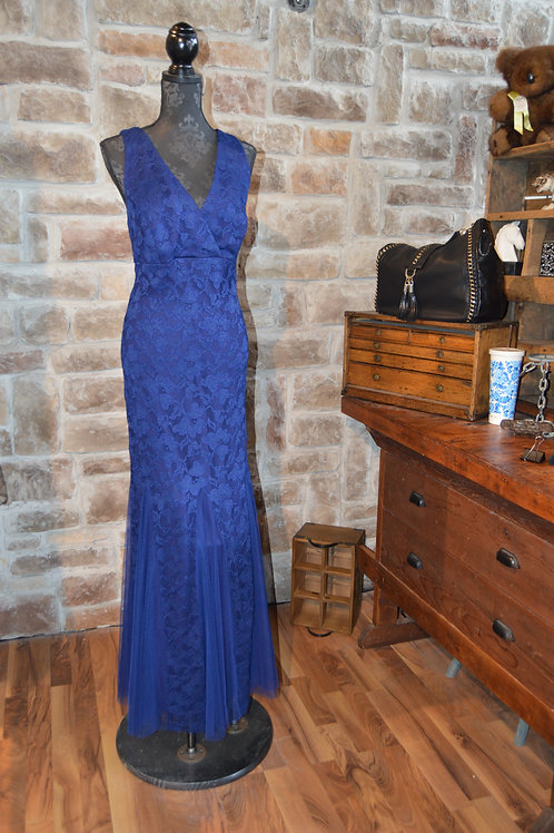 XL (16W) Navy Lace Double-V Evening Gown By Xscape