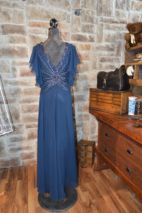 XL (18) Navy Blue Gown with Flutter Sleeves