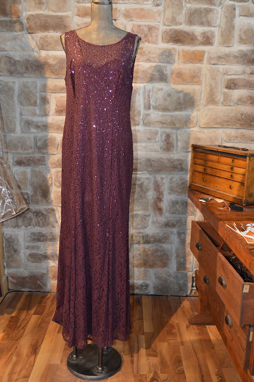 Large (14) Solid Fig Lace Sequin Gown