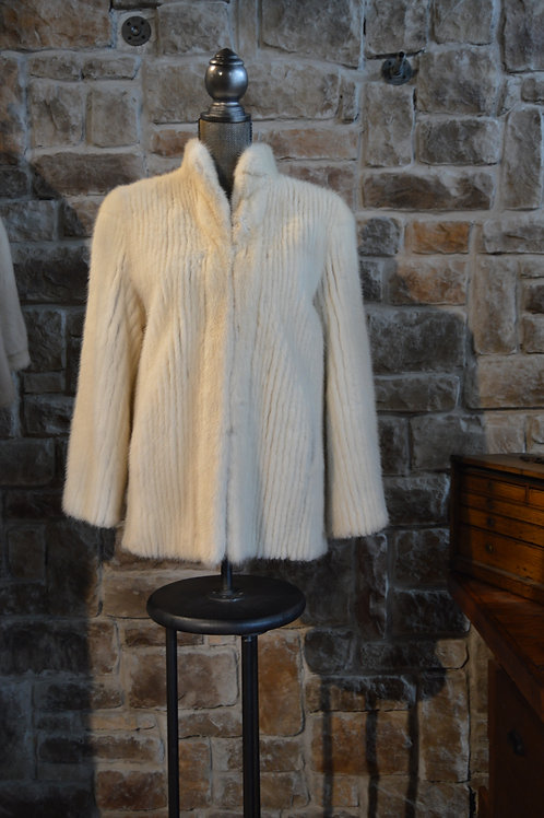 Small Ivory Corded Mink Jacket