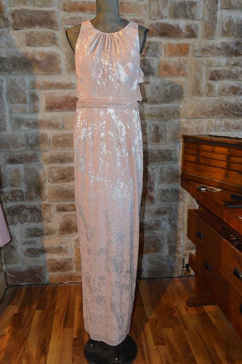 Large (14) Pink Metallic Sleeveless Formal Gown