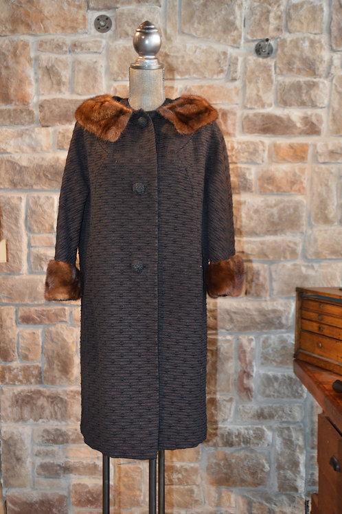 Medium Vintage Textured Coat with Ranch Mink