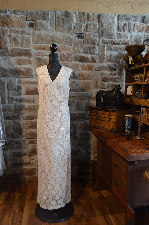 XL (16) Ivory Lace with Sequins Long Gown
