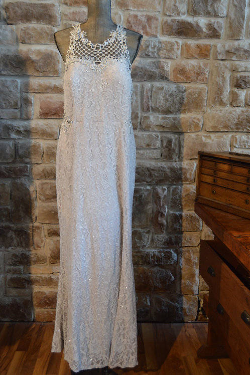 Large (14) Silver-lace Evening Gown