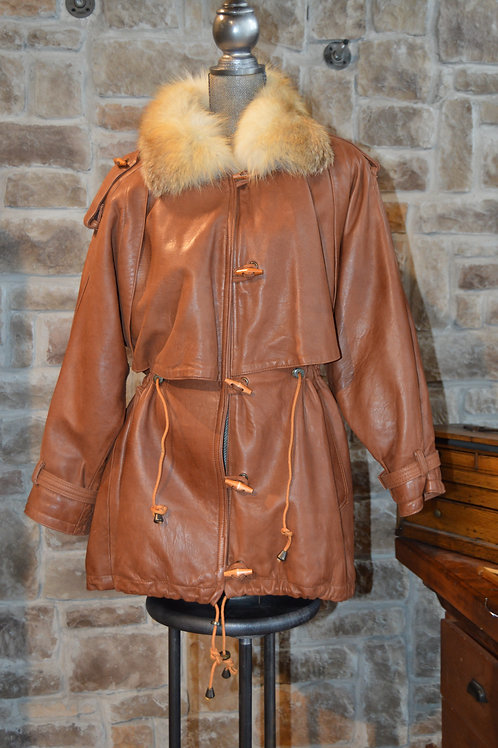 Medium Cognac Leather Jacket with Fox Collar