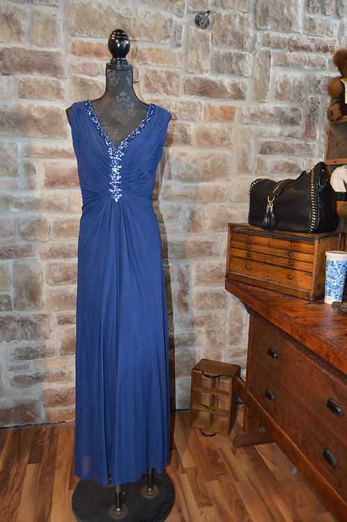 XL Blue Ruched and Beaded Gown