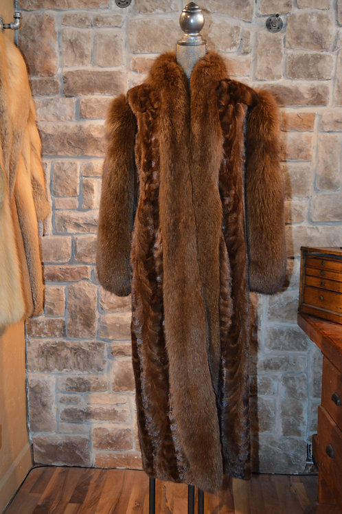 Large Sable dyed Mink paw and fox long coat