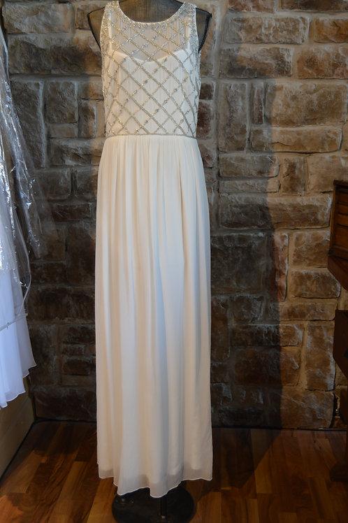 Large White Metallic Beaded Dress