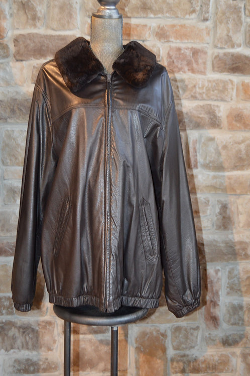 XL Dark Brown Leather Bomber Jacket Sheared Beaver Collars