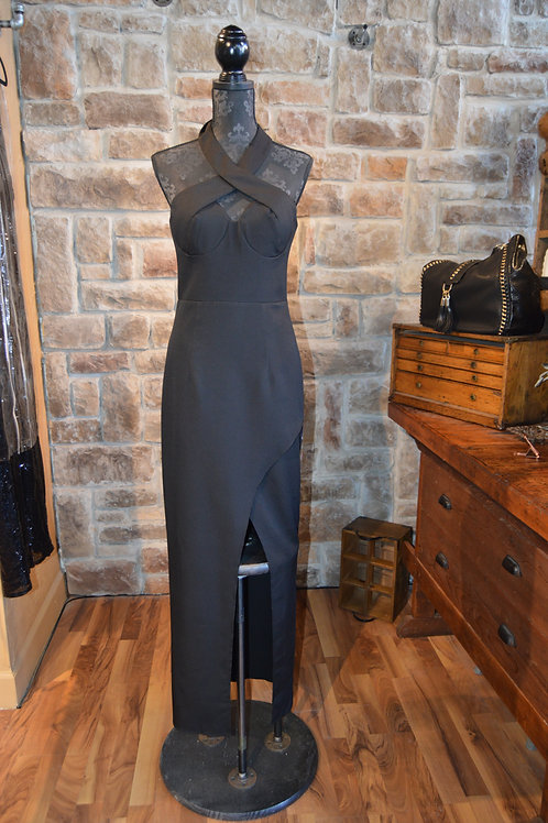 Large Black Crossover Halter Evening Gown