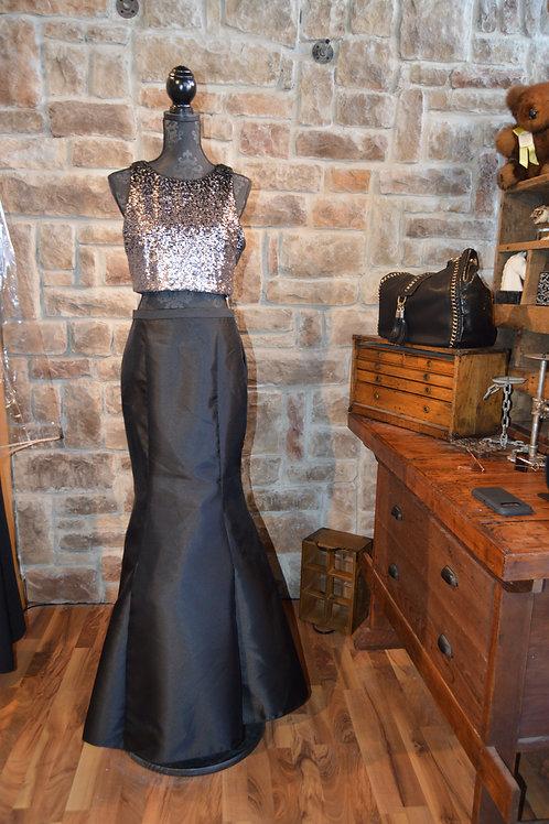 Large (12) Black Sequined 2 Piece Mermaid Dress