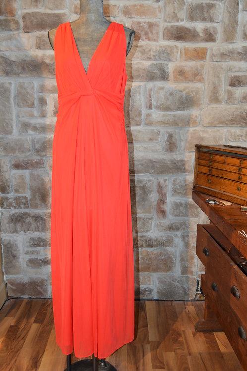 Large (12) Red V Neck Full-Length Dress By Nine West