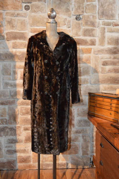 Large Black Paw Mink Full-length Coat