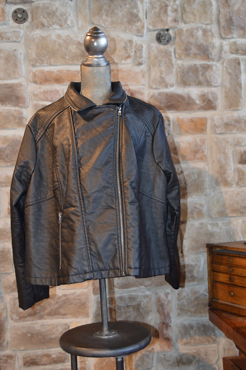 3 XL Black Faux Leather Motorcycle Jacket by Baccini