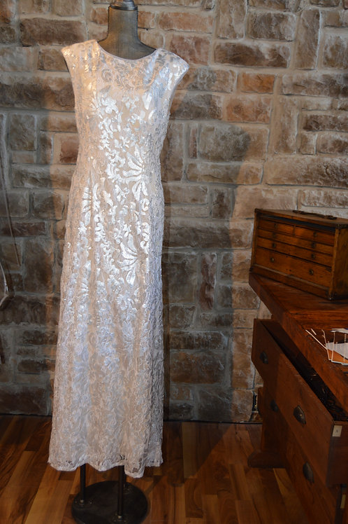 Large (14) White Silver Sequin Gown