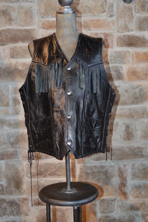 3XL Leather Fringe Vest