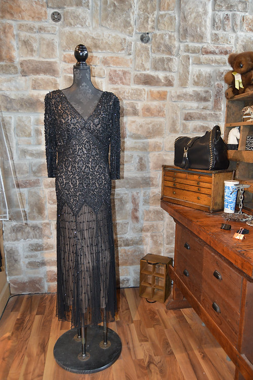 XL (16) Black Fully Embellished Gown By Pisarro Nights