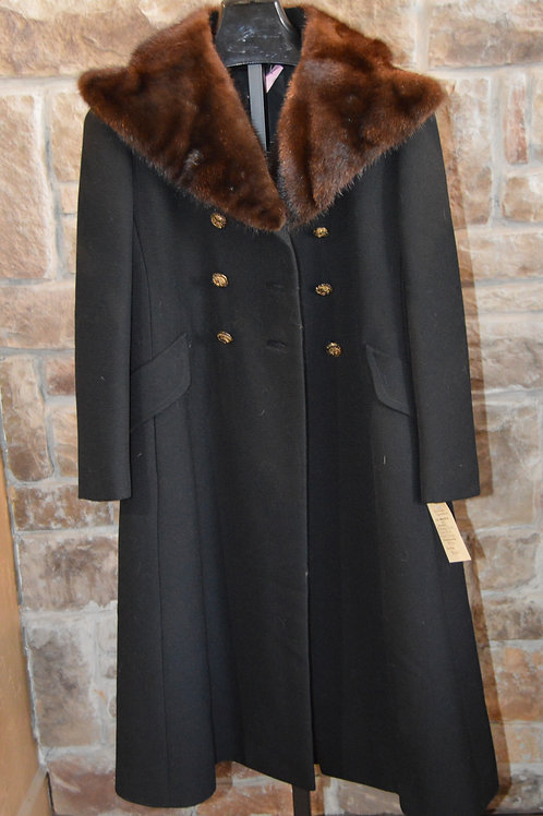 Black Peacoat with Mink Collar