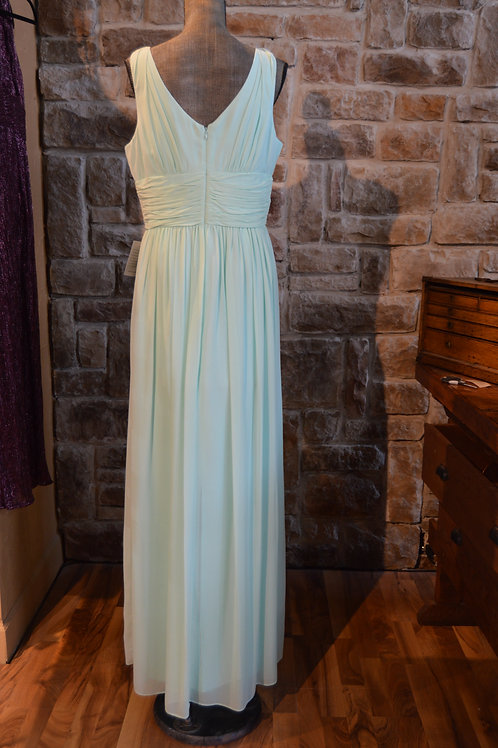 Large (14) Sky Blue Silk Knot Front Full-length Gown By Donna Morgan