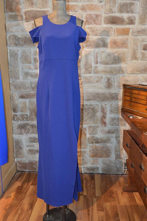 Large Blue Cold-shoulder Sheath Gown
