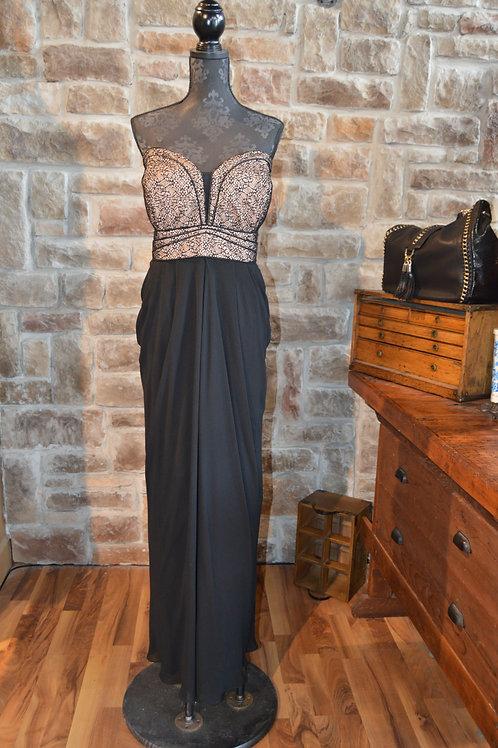 XL Black Chiffon Lace Trim Empire Dress
