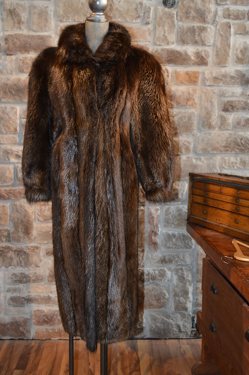 Medium Natural Brown Full-length Beaver Coat