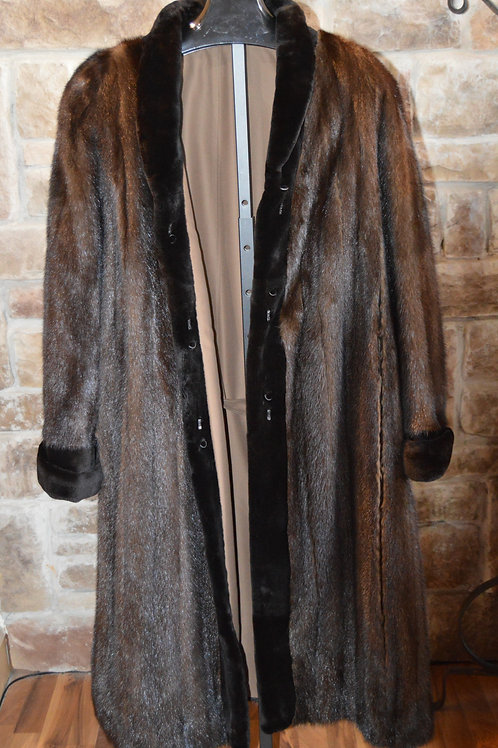 Full Length Dark Ranch Mink with Sheered Mink Trim