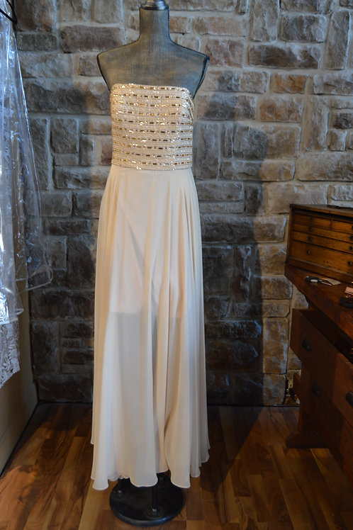 Large (14) Buttercup and Gold Beaded Gown