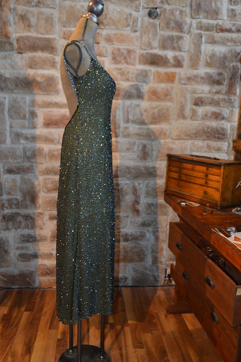 Large Forest Green Beaded Gown (Vintage)