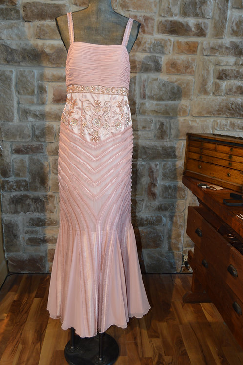 Large (12) Dusty Pink Beaded Full-length Gown By Sue Wong