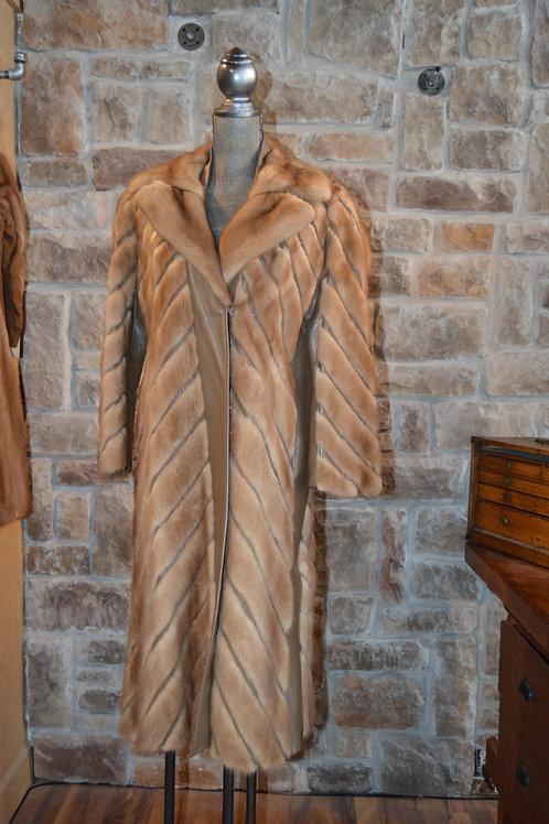 Medium Autumn Hazel Mink and Leather Belted Coat