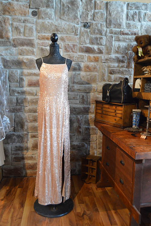 XL (16) Adrianna Papell Rose Gold Sequined Halter Gown