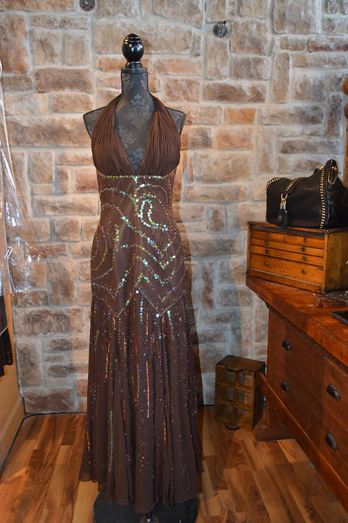Large (12) Incite Brown Beaded Gown
