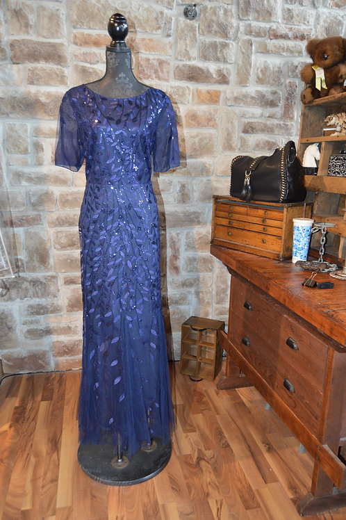 XL (18) Blue Sequined Full-length Gown