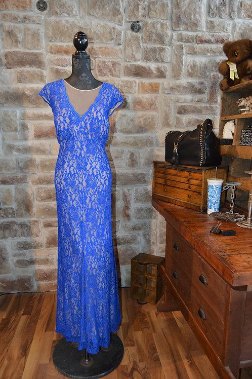 XL (18W) Blue Floral Lace Gown