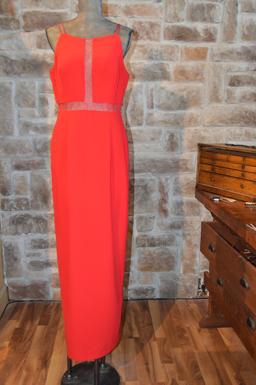 Large (14) Aiden Mattox Red Mesh Cutout Evening Gown