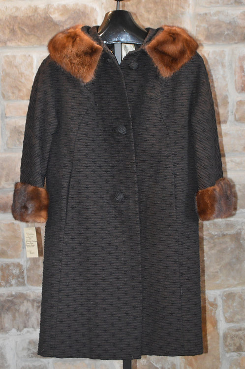 Black Textured Peacoat with Ranch Mink Collar and Cuffs