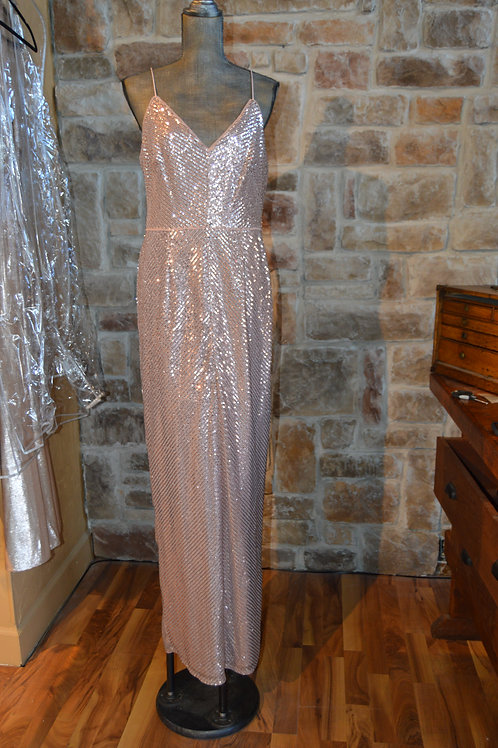 Large (12) Pink Striped Sequin Evening Dress