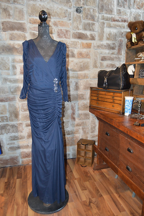 XL (18W) Adrianna Papell Navy Ruched Gown