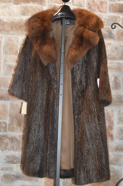 Mid-Calf Length Dark Brown Nutria with Fox Collar