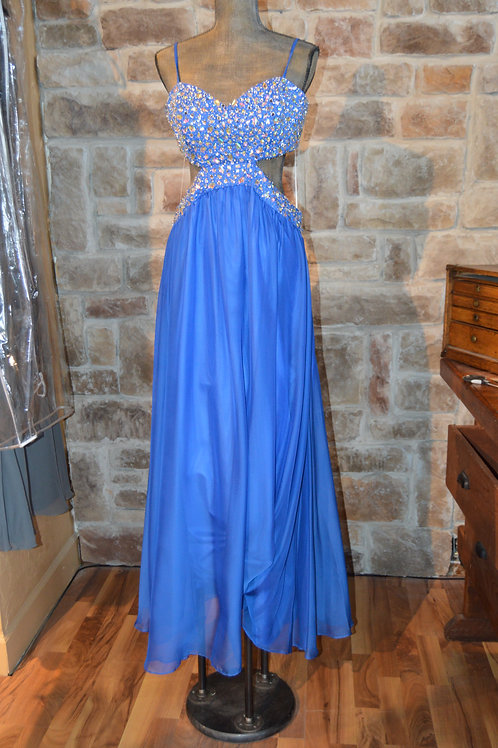 Large (Large (14) Blue Chiffon Cutout Full-length Gown with Beading By Decade