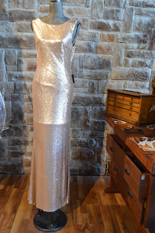 Large Rose Gold Sequined Gown By LuLu