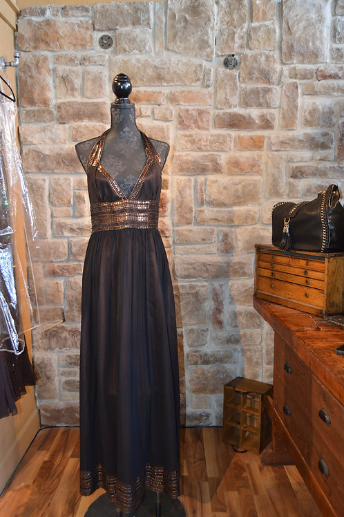 Large (12) Black and Brown Embellished Gown