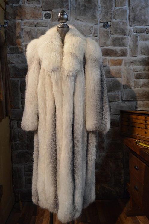 XL Platinum Fox Full-length Coat