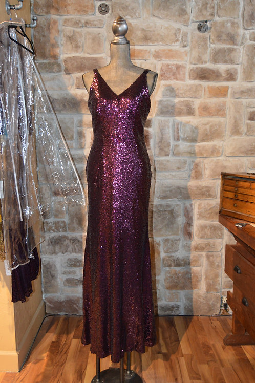 Large (12) Purple V Neck Sequined Gown