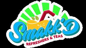 smakk'd white white outline logo with bright colors