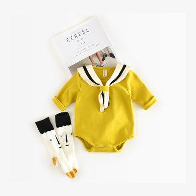 Sailor Style Long Sleeve Romper/Bodysuit for Baby Girl & Boy