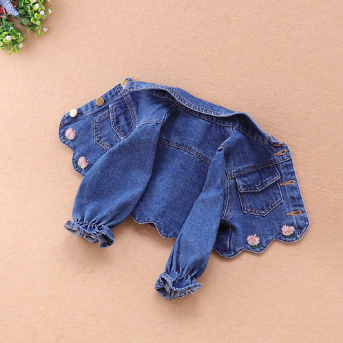 Floral Embroidery Denim Jacket for Little Girl (NCS 018)