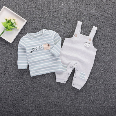 [Clearance Sale] 2pcs Strips Shirt with Bear Design Suspender for Toddler