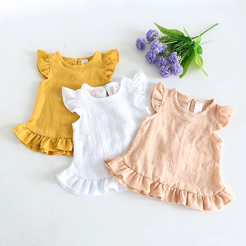 Ruffle Sleeve Round Neck Simple Dress for Little Girl